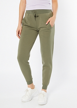 Olive High Waisted Boyfriend Joggers