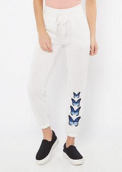 Ivory Butterfly Drawstring Graphic Joggers