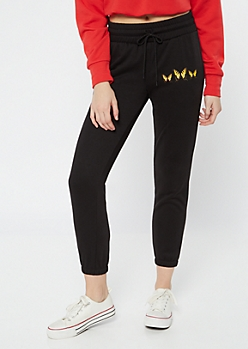 Black Butterfly Drawstring Graphic Joggers