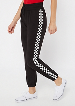 Black Checkered Print Side Striped Joggers