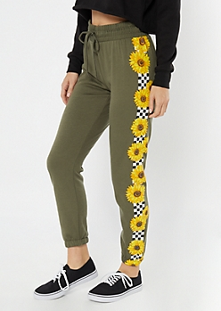 Olive Sunflower Checkered Print Striped Joggers