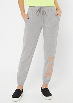 Gray Hype Drawstring Graphic Joggers