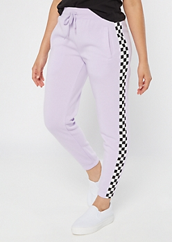 Purple Checkered Print Cozy Boyfriend Joggers