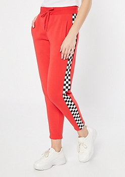 Red Checkered Print Cozy Boyfriend Joggers