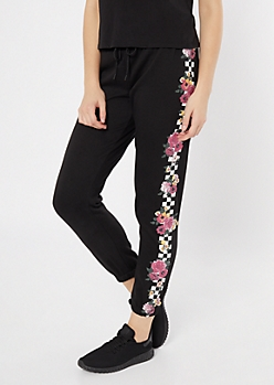 Black Checkered Floral Print Joggers