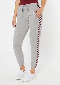 Heather Gray Checkered Print Side Striped Boyfriend Joggers