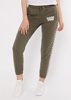 Olive Checkered Print Good Vibes Joggers