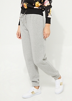 Gray Fleece High Waist Joggers