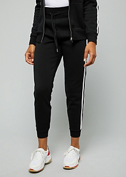Black Side Striped High Waisted Joggers