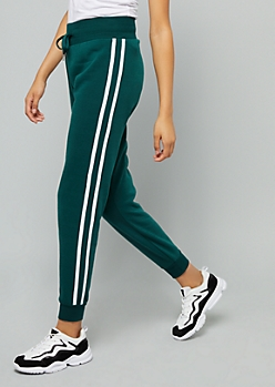 Green Side Striped High Waisted Joggers