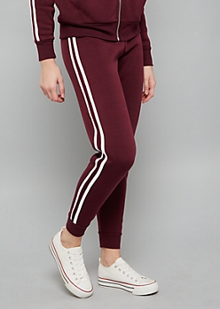 Purple Side Striped High Waisted Joggers