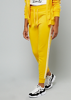 Yellow Side Striped High Waisted Joggers