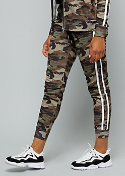 Camo Print Side Striped High Waisted Joggers