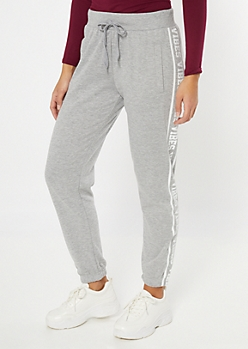 Gray Vibes Side Striped Cozy Joggers