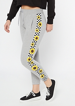 Gray Checkered Sunflower Print Cozy Boyfriend Joggers
