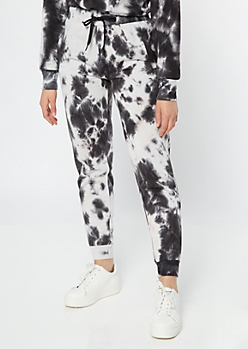 Black Tie Dye High Waisted Drawstring Joggers
