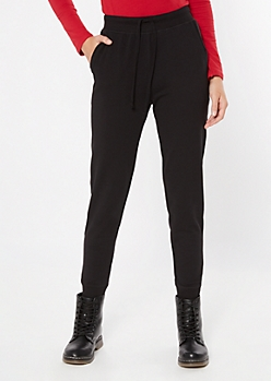 Black Essential High Waisted Cozy Joggers