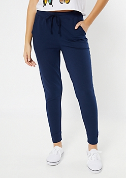 Navy Essential High Waisted Cozy Joggers