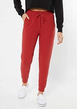 Red Essential High Waisted Cozy Joggers