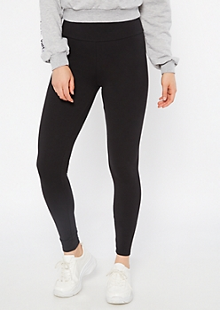 Black High Waisted Wide Band Leggings