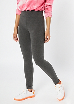 Gray High Waisted Wide Band Leggings
