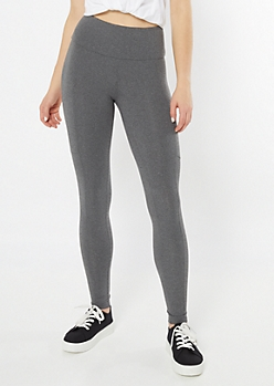 Gray Mid Rise Cell Phone Pocket Leggings