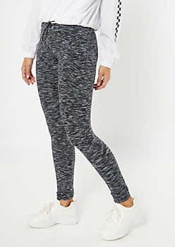 Black Space Dye High Waisted Cell Phone Pocket Leggings
