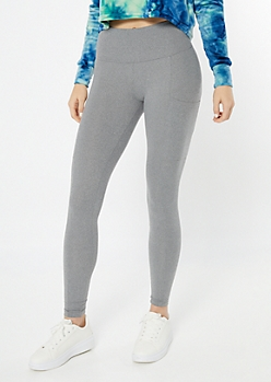 Gray High Waisted Cell Phone Pocket Leggings