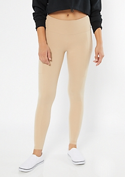 Nude High Waisted Cell Phone Pocket Leggings