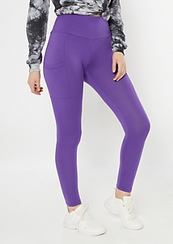 Purple High Waisted Cell Phone Pocket Leggings