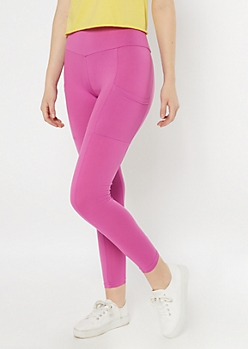 Magenta High Waisted Cell Phone Pocket Leggings