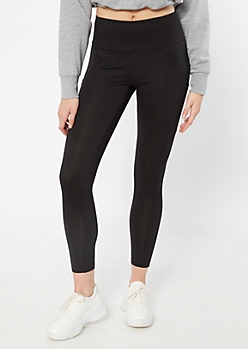 Black Mid Rise Cell Phone Pocket Leggings