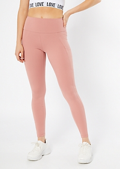 Pink Mid Rise Cell Phone Pocket Leggings