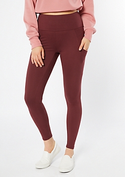 Burgundy Mid Rise Cell Phone Pocket Leggings