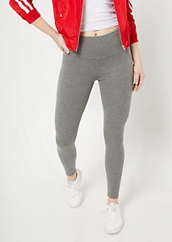 Heather Gray High Waisted Cotton Leggings