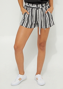 Gray & White Striped Tie Front Shorts