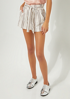 Brown Striped Tie Front Shorts