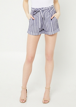 Navy High Waisted Striped Pattern Shorts