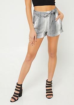 Black & White High Rise Striped Double Button Shorts