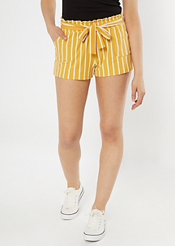 Yellow Striped Sash Waist Shorts