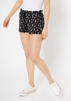 Black Ikat Print Super Soft Paperbag Waist Shorts