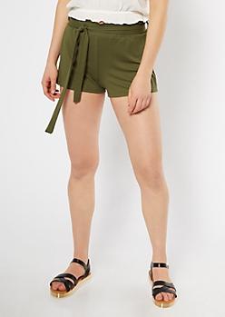 Olive Super Soft Paperbag Waist Shorts