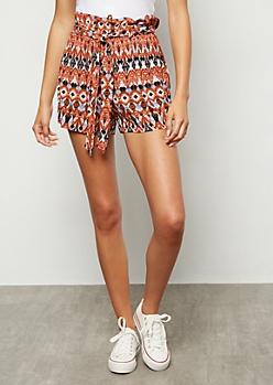 Burnt Orange Border Print Paperbag Waist Shorts