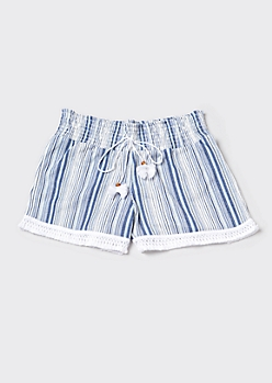 Blue Striped Tassel Drawstring Shorts