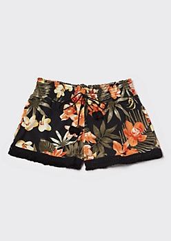 Black Tropical Tassel Drawstring Shorts