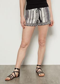 Black Striped Crochet Fringe Linen Shorts