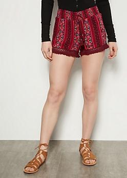 Burgundy Floral Print Crochet Fringe Shorts