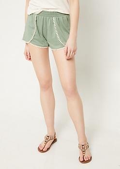 Green Crochet Hem Shorts