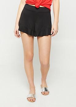 Black Super Soft Ruffled Shorts