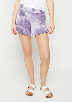 Purple Tie Dye Super Soft Ruffled Shorts